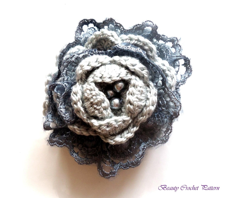 Crochet A Flower Brooch Pattern : Crochet Pattern Flower Brooch Crochet Flower Brooch With Lace