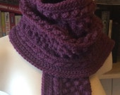 Beautiful mulberry/plum cabled hat and scarf set