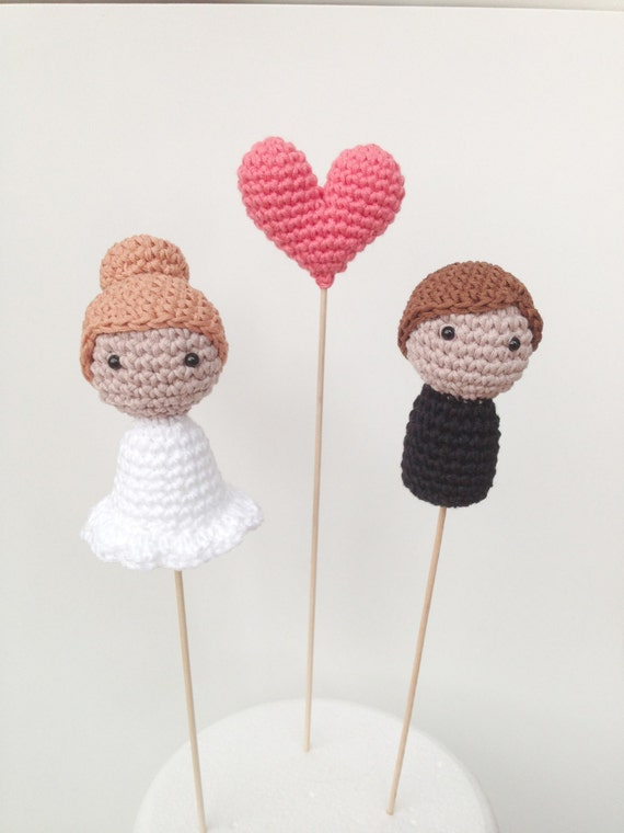 Knitting Cake Toppers : Wedding cake toppers bride groom and one heart