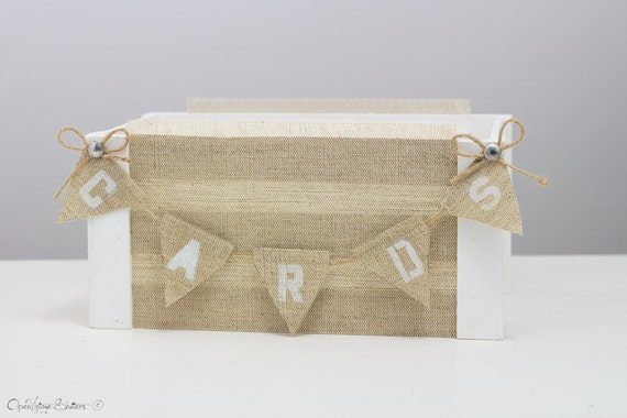 White Wedding Card Box With Banner Vintage Hessian Wedding