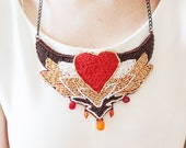 Women gift necklace for Valentine day - red heart necklace - gold and red seed beads pendant - love jewelry for her, Valentine fashion gift