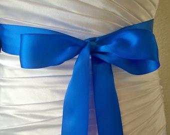 Royal Blue Sash- 1.5 Inch Simple Satin Sash- Wedding Belt- Bridal Sash Ready to Ship