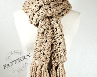 CROCHET PATTERN - Chunky Puff Scarf Pattern, Tassel Scarf Pattern, Lacy Scarf Pattern, Chunky Scarf Pattern, Crochet Scarf Pattern pdf #012S