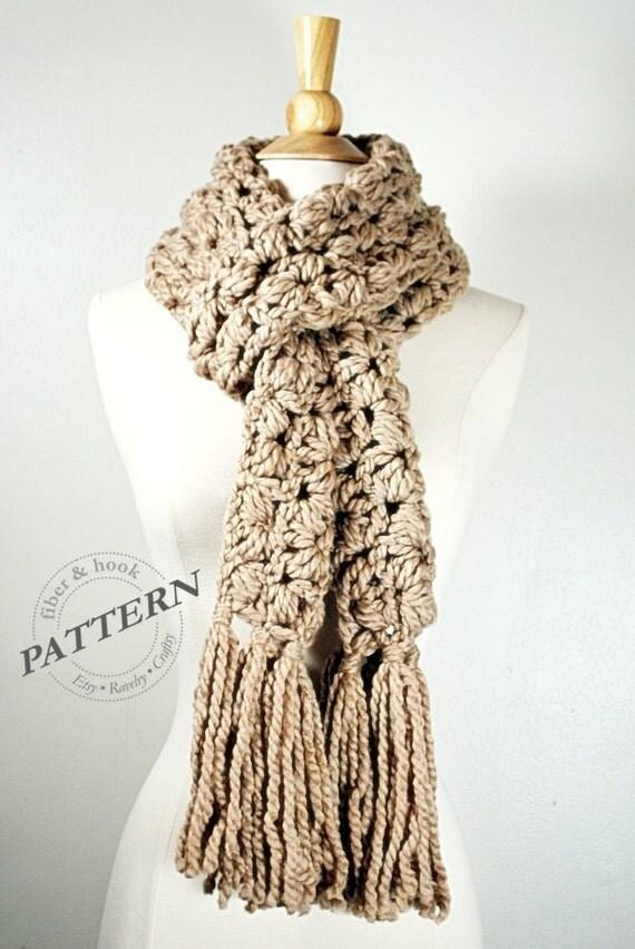 Crochet Scarf Pattern With Tassels : CROCHET PATTERN Chunky Puff Scarf Pattern Tassel Scarf