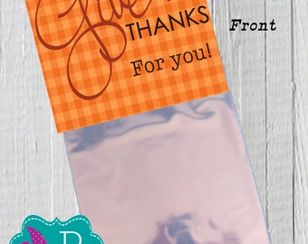 Thanksgiving Blessing Bag Topper Printable- instant download