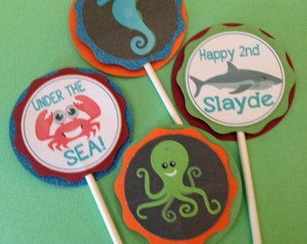 Chalk Ocean Cupcake Toppers- set of 24