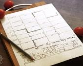 DOODLE Weekly Menu Planner / Kitchen Organizer   Printable Letter size pdf templates   Unique Creative Artistic Management Reminder Tool