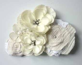 Big White Ecru Flowers Hair Pin - Eco Friendly Wedding