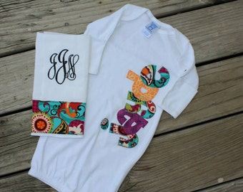Applique Name Baby Gown and Monogram Burp Cloth