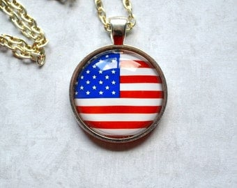 """US Flag Pendant Necklace - Red White and Blue Independence Day Fourth of July Patriotic 1 inch glass pendant necklace 24"""""""