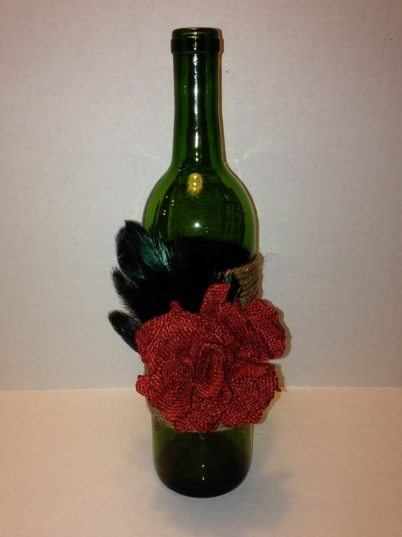 Items similar to recycled wine bottle candle holder or for Wine bottle flower vase