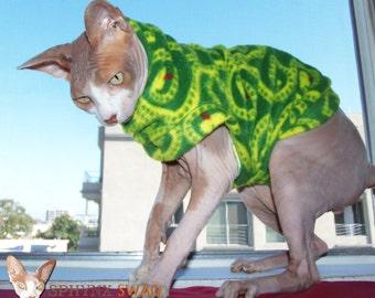 "Sphynx Designer Clothing ""Snakes On A Plain"" Medium Weight Cat Sweater"