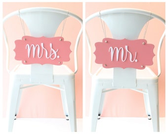 70% OFF!!! Wedding Chair Signs mr. & mrs. pair (powdered peach and white)