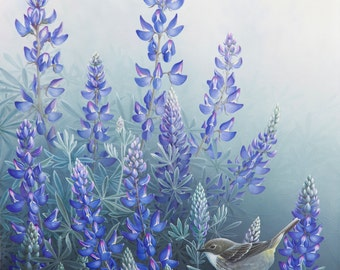Original Painting -Lupine Floral with Warbler by Mike Stinnett
