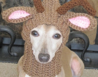 Reindeer Dog Hat - Reindeer Dog Snood - Christmas Dog Hat - Size Small in Brown