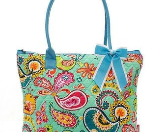 Quilted Twirly Bird Paisley Tote Bag