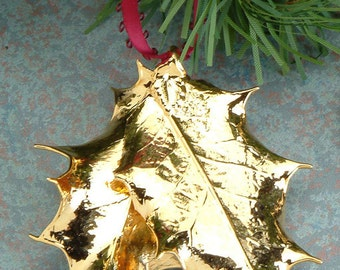 Real Holly Leaves Dipped in 24k Gold - Christmas Ornament