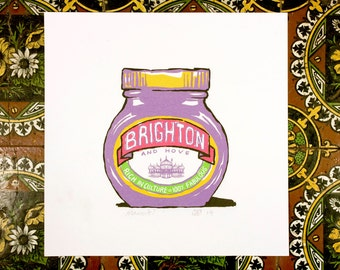 Brighton & Hove Marmite? - 20 x 20 cm signed giclée art print inspired by the yeasty spread!