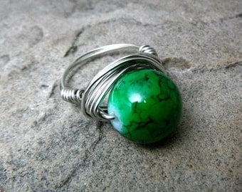 Chunky Green Ring, Big Ring, Green Marble Ring, Wire Wrapped Ring, Green Glass Ring, Chunky Ring, Wire Wrapped Jewelry Handmade