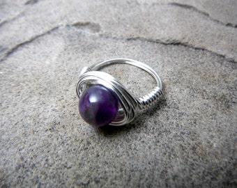 Natural Amethyst Ring, Purple Amethyst Ring, Wire Wrapped Ring, Purple Ring, Amethyst Jewelry, Wire Wrapped Jewelry Handmade, Stone Ring