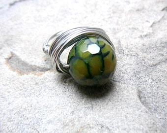 Green Agate Ring, Wire Wrapped Ring, Green Ring, Wire Wrapped Jewelry Handmade, Green Stone Ring, Agate Jewelry