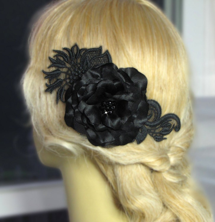 Black Flower Hair Accessory J7213: Black Silk Flower Hair Clip. Black Bridal Silk Flowers For