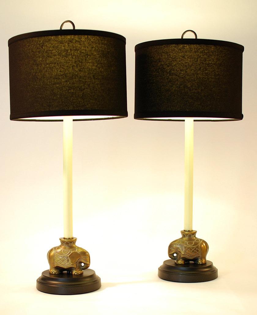Set Of 2 Buffet Lamps Cordless Pair Of Antique Asian Cast