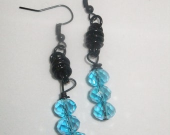 Black Coil Drop Earrings with Blue Crystals