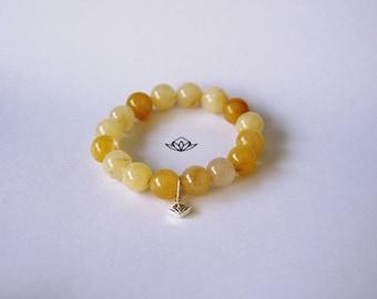 Natural Honey Jade Beads (Chalcedony) Stretch Bracelet in 8, 10, 12, or 14mm diameter