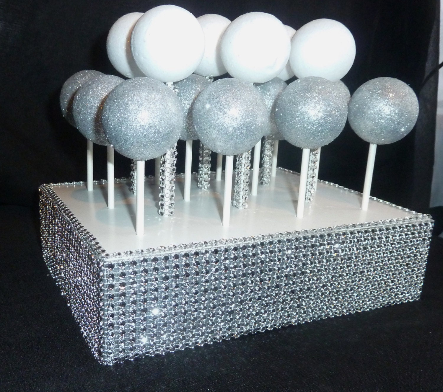 Bling Faux Rhinestone Cake Pop Stand Display Holder Lollipop