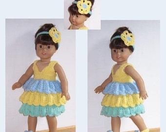 "PDF knitting pattern for 18"" doll, fits American Girl, Gotz, and similar size dolls."