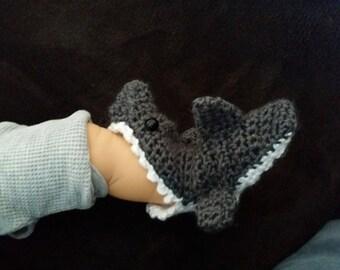 Crochet Pattern For Baby Shark Booties : Crochet Shark bite shark attack slipper booties sock ...
