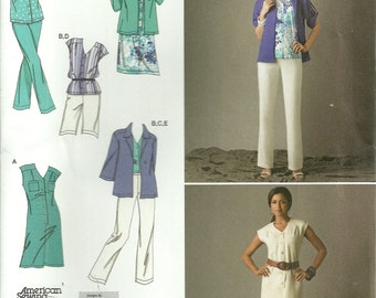Miss Casual Dress or Top, Pants, Shorts, Jacket, Simplicity 2705 Sewing Pattern, Sizes 10, 12, 14, 16, 18, American Sewing Guild, Uncut