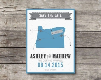 Oregon State Map Save the Date - Customizable - Digital Ready to Print