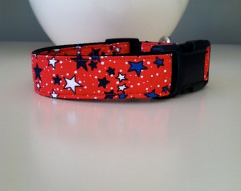 Small Dog Collar- Red with Stars