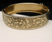 Embossed Floral Design Hinged Bangle Bracelet Vintage
