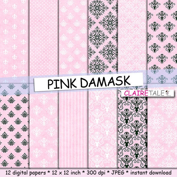 Pink damask digital paper: PINK DAMASK with classic by ...