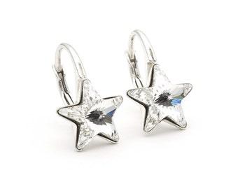Swarovski Star Earrings Clear Crystal Tiny Star Earrings Sterling Silver Swarovski Jewelry Simple Small Star Earring Minimalist Earrings