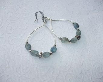 Blue grey kyanite  gemstone earrings