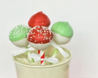 Assorted Red and Green Cake Pops On Striped Straws (12) Edible Gift, Edible Favor, Christmas, Party