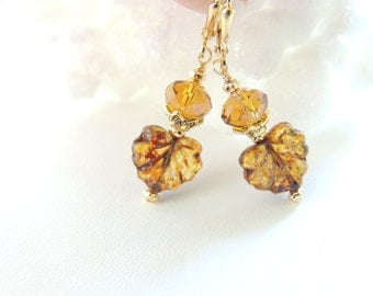 Fall Leaf Earrings, Czech Glass Leaf Earrings, Fall Fashion Accessories, Autumn Jewelry, Seasonal Jewelry, Dangle Earrings, Gift Idea.  #210