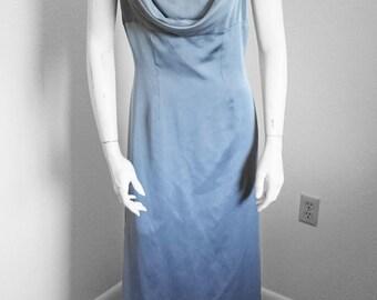 90s Metallic Dove Grey Halter Dress