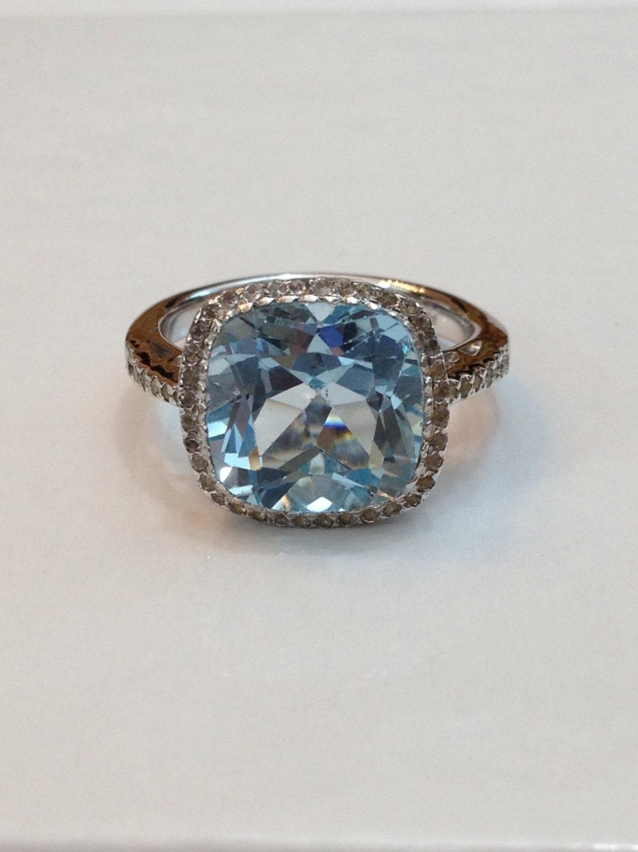 vintage blue topaz ring 5 ct gemstone by antiquejewelryforfun
