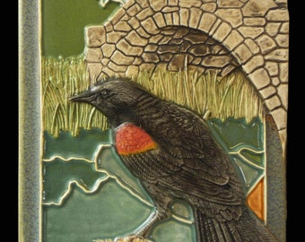 Ceramic tile, sculpture, wall art, animal art, wall hanging, Red Winged Blackbird, art tile