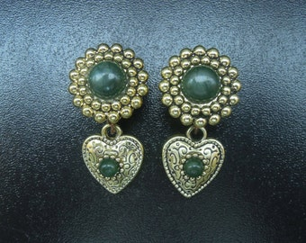 "1/2"" 12MM Green Bead Gold Heart Dangle Plugs for Stretched Ears"