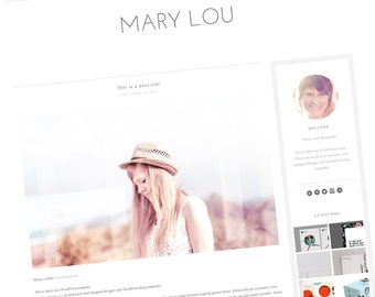 Premade WordPress Theme - Responsive Blog Design - Clean Blog Template - Minimal Modern Design - Gray and White - Mary Lou