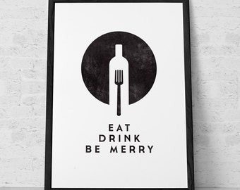 Eat Drink Be Merry. Black and white Kitchen art Kitchen decor kitchen wall art Retro Kitchen print foodie gift food lover gift for him