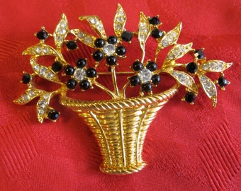 Outstanding Floral Basket Pin Brooch - Gold Tone With White & Black Rhinestones - Free Shipping