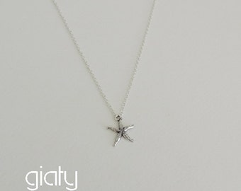 Silver Starfish Necklace - Small Necklace, Starfish Necklace, Dainty Necklace, Wedding Necklace, Simple Necklace, Bridesmaid Necklace