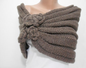 Knitted Shawl Scarf Brown Scarf Floral Scarf Ascot Neck Warmer Winter Scarf Women Fashion Accessories Holiday Christmas Gift For Her For Mom